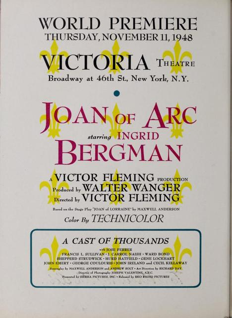 Victoria Theater, NYC, World Premiere, Ad