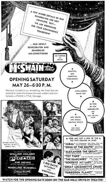 May 25th, 1956 reopening ad