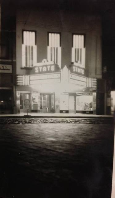The State Theater at night.