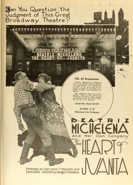 "Loew's New York Theatre, 1919's ""The Heart Of Juanita"""