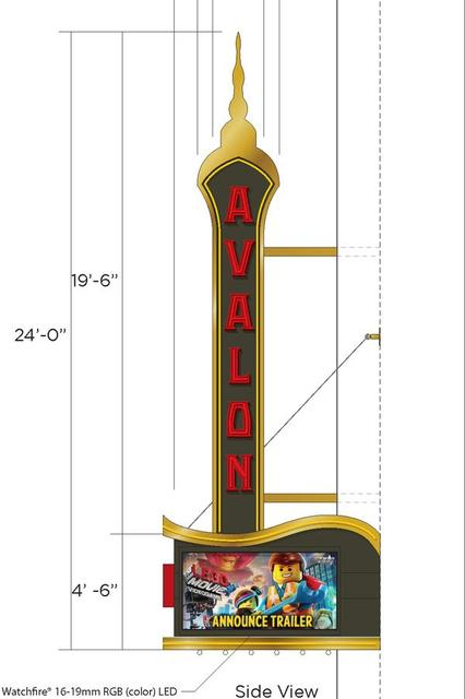 AVALON Theatre; Milwaukee, Wisconsin: vertical sign/marquee proposals.