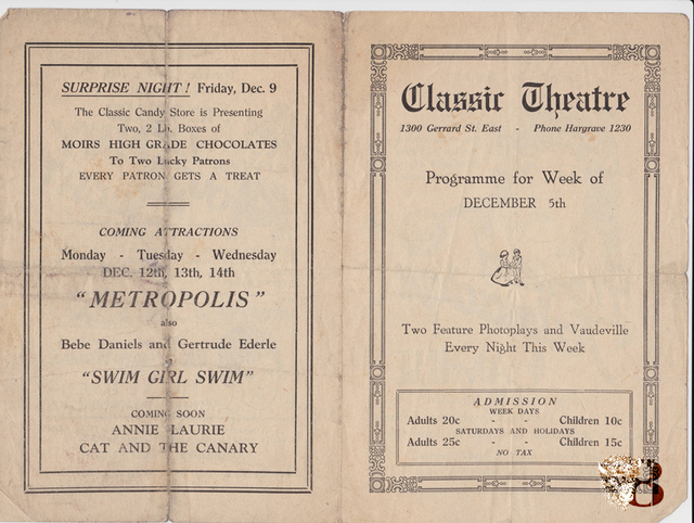1927 Theatre Programme