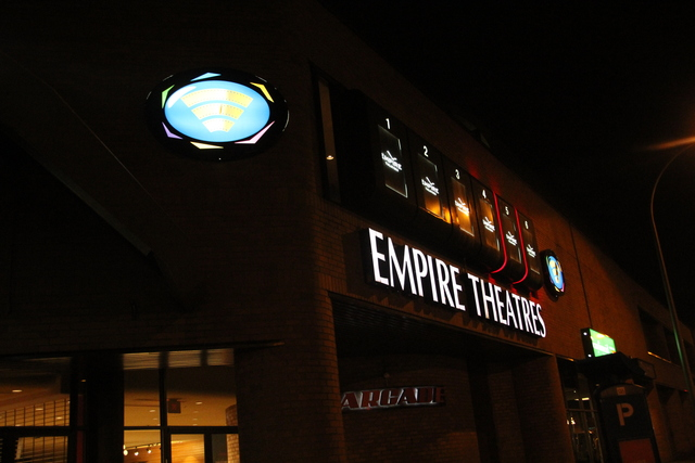 Exterior marquee at night