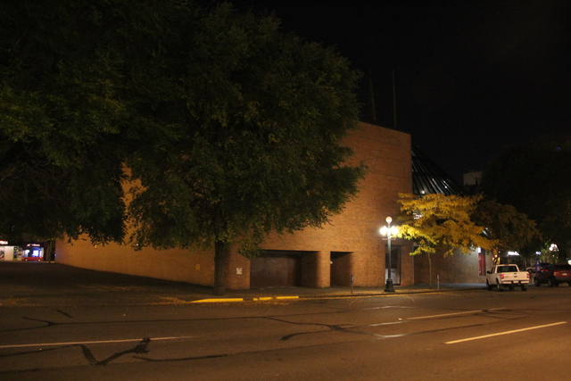 Exterior rear at night from Yates street