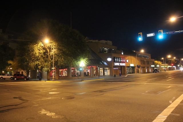 Exterior from across street at night