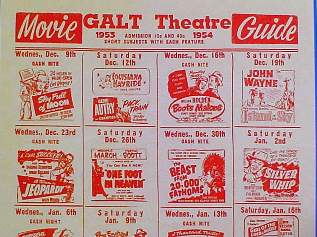 GALT THEATRE FLYER FOR GALT, MISSOURI 1953-1954