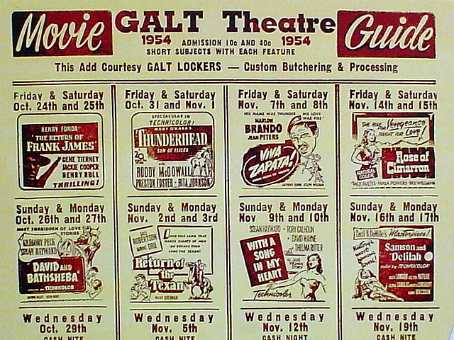 GALT THEATRE FLYER FOR GALT, MISSOURI 1954