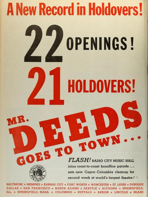 "Radio City Music Hall, ""Mr. Deeds Goes To Town"" Ad"