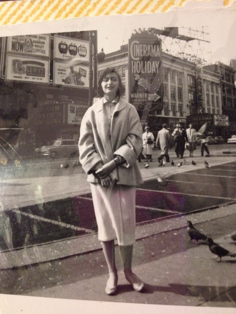Roberta Berkson's trip to Times Square. 1953 photo credit & courtesy of Roberta Berkson.