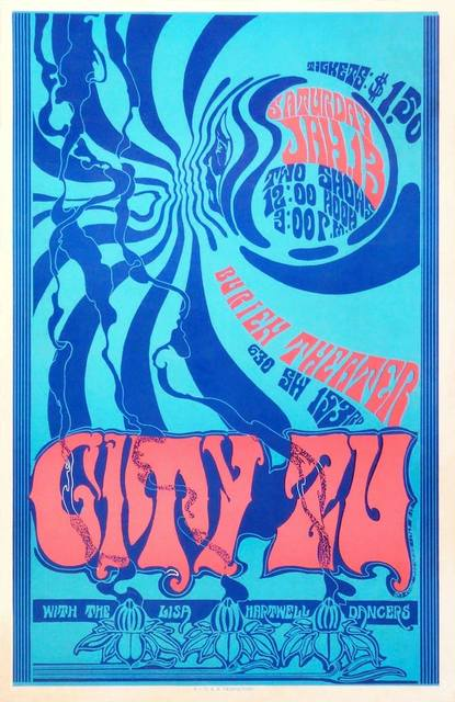 Late 1960's poster for the rock band City Zu at the Burien. Courtesy of the City Zu Facebook page.