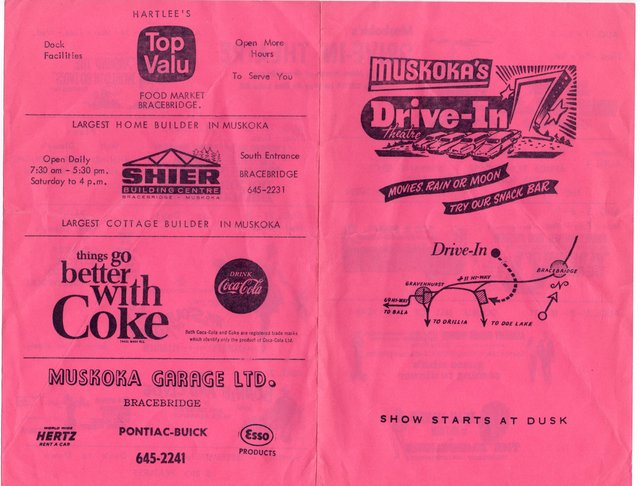 Muskoka Drive-In 1967 Film Flyer