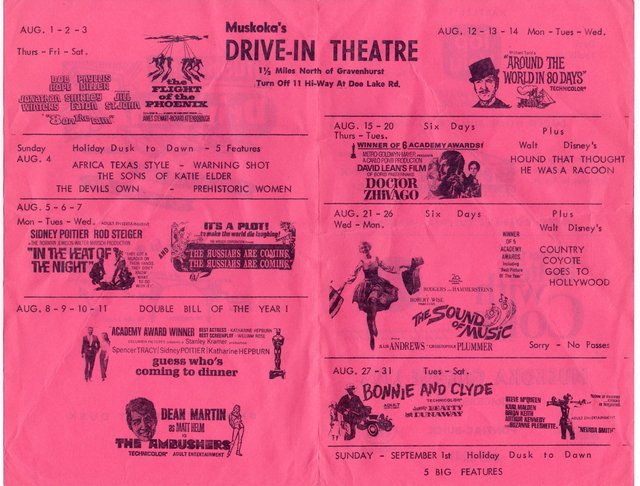 Muskoka Drive-In 1967 Reverse Film Flyer