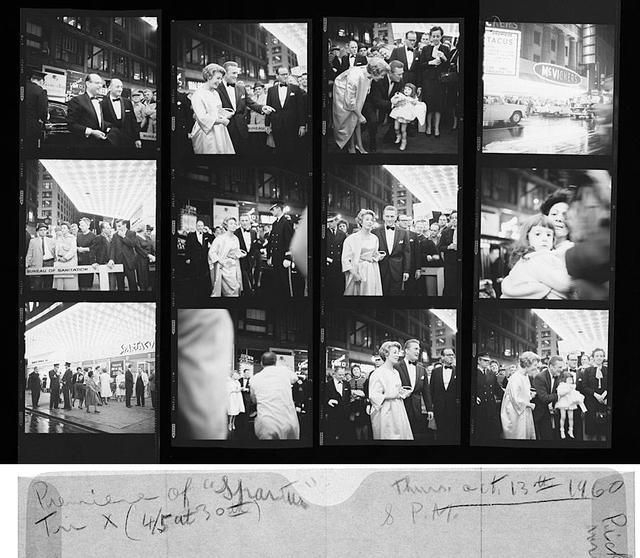 On this day in 1960, Vivian Maier photographed Kirk Douglas at the premiere of the movie Spartacus in Chicago, IL. You can see her notes on the film sleeve below the contact sheet. © Vivian Maier/Maloof Collection