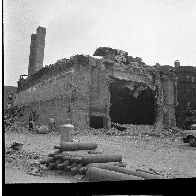 Looking S/W at the old Carnegie Theatre auditorium after the 02/11/66 fire. AP News Photo.