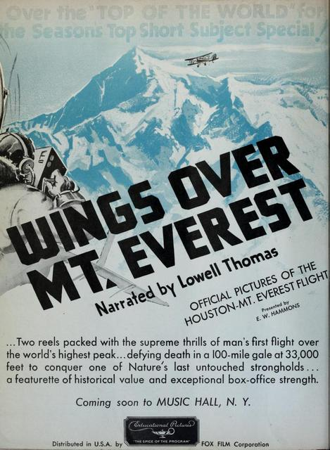 "Radio City Music Hall 1934's Ad ""Wings Over Mt. Everest"""