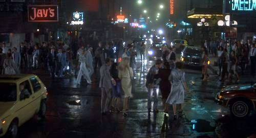 "Screen shot from the film ""Doctor Detroit"" in 1983. Bottom of the Carnegie marquee lit up in the right."