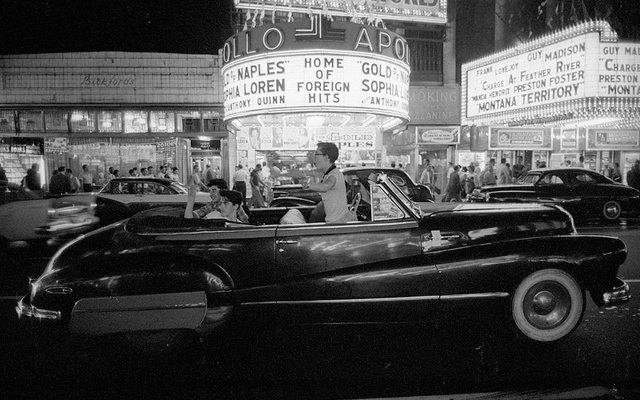 Saturday night in Times Square. New York, 1957. Photo courtesy of the Riding Betties Facebook page.