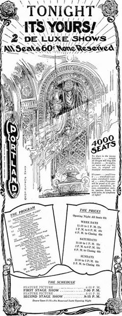 March 3rd, 1928 Grand opening ad as Portland