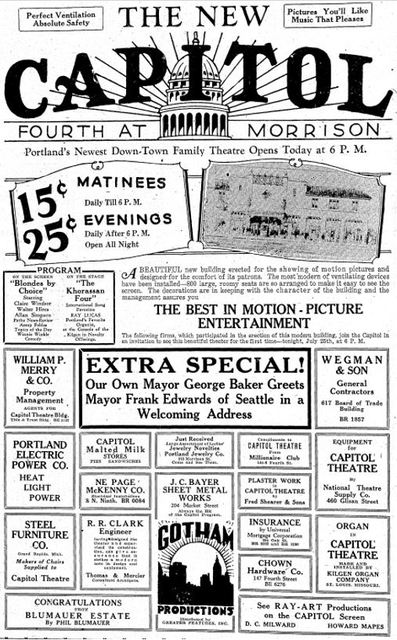 July 1928 Grand opening ad as Capitol