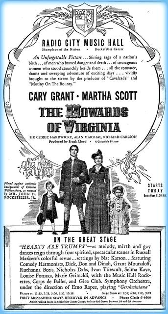"""The Howard of Virginia"" opened on September 26, 1940"