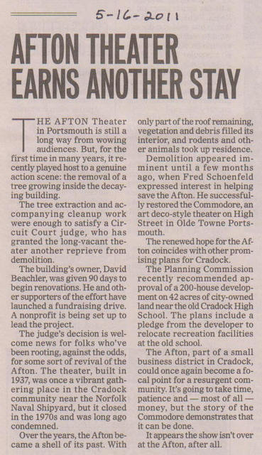 Newspaper Article about Afton Theater, May 2011