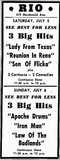 Rio Theatre Newspaper Ad 1952