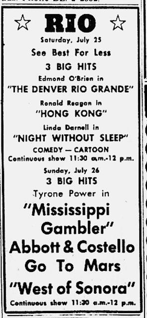 Rio Theatre Newspaper Ad 1953
