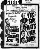 State Theatre Newspaper Add December 1949