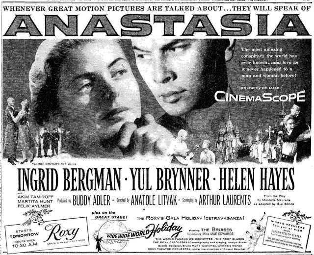 """""""Anastasia"""" had its world premiere at the Roxy on December 13, 1956"""