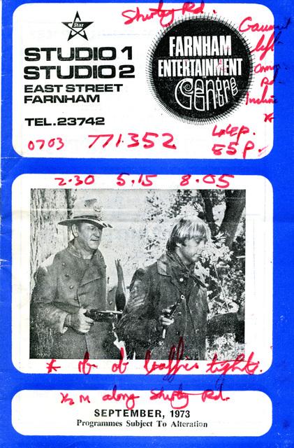 Studios 1 & 2, Farnham - Programme Booklet - September 1973 (cover)