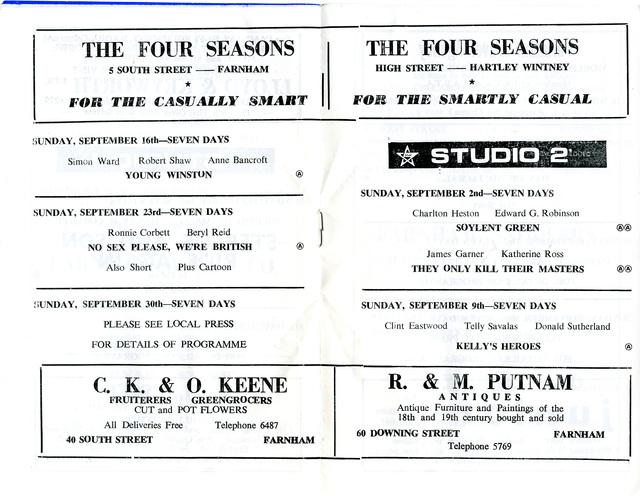Studios 1 & 2, Farnham - Programme Booklet - September 1973 (pp3-4)