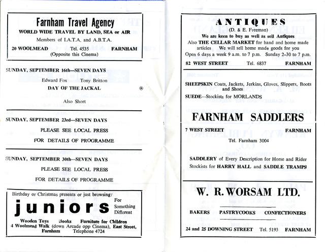 Studios 1 & 2, Farnham - Programme Booklet - September 1973 (pp5-6)