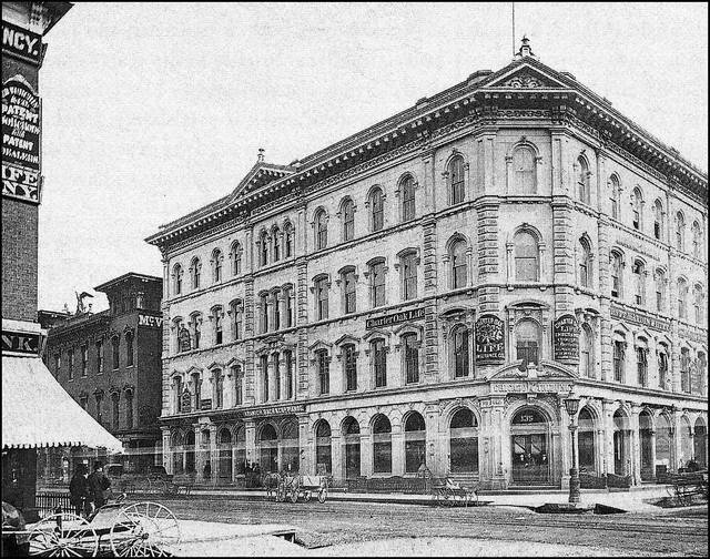 1850's photo of the original McVicker's Theatre, behind the original Chicago Tribune Building.  Courtesy of Darla Zailskas.