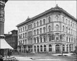 1850's photo of the original McVicker's Theatre, behind the original Chicago Tribune Building.  Courtesy of Darla Zailskas.
