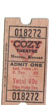 Vintage Cozy Theatre ticket courtesy of Susan Quenzer Thomson.