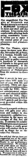Fox announcement 1923 11 22