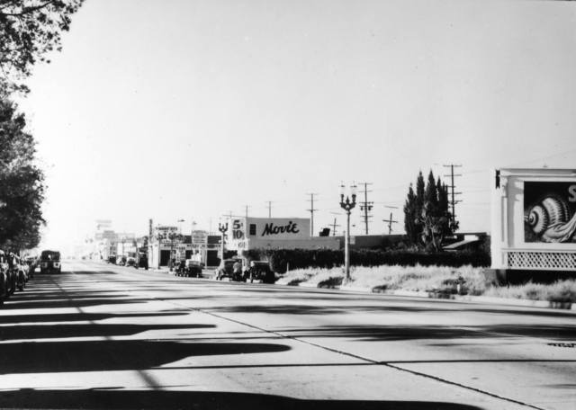 1945 photo & copy courtesy of Bill Gabel. Looking south along Fairfax Ave from Melrose towards the Silent Movie Theatre.