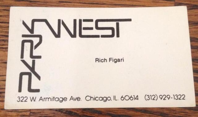 Business card for the late Rich Figari who once managed the Park West. Image courtesy of Suzanne Kemp.