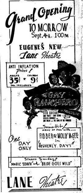September 3rd, 1948 grand opening ad as Lane